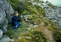 Gabrielle Hawkes meditating on Carn Ingli. Gabrielle was the key on-site facilitator for the dream sessions,  and the main transcriber of the audio-recorded dreams, work also undertaken by Charla  Devereux. Tom Henderson-Smith was also a major on-site facilitator. Various other dedicated people acted as facilitators as well, to sit with the volunteer dreamers, and, alerted by rapid eye movements (REM) indicating dreaming sleep, to wake them and immediately audio-record any dreams they had.